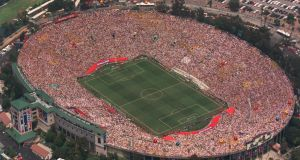 An aerial view of the Rose Bowl in Pasadena, during the 1994 World Cup final. Photograph: Mike Powell/Getty Images