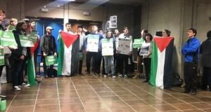 Last February, an event at Trinity involving the Israeli ambassador Ze'ev Boker was cancelled following a protest by 40 protesters from Students for Justice in Palestine (TCD). Photograph: Arianna Schadt/The University Times