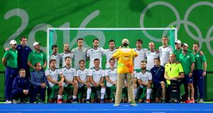 The Irish men's Hockey team at the Rio Olympics last year. Photograph: James Crombie/Inpho.