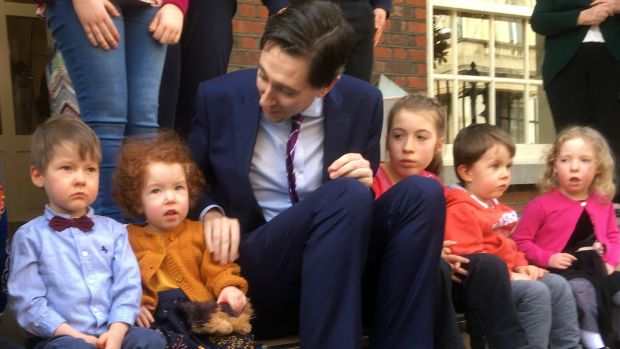 Minister for Health Simon Harris meets with some of the children at the PWSAI national survey launch in September.
