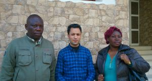 Mohamed Mboyo, a refugee; Hassan Errifai of Amappe, an association for small businesses; and Rebecca Bousouka, a migrant.
