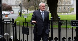 Bertie Ahern arriving at Leinster House for the Seanad Special Select Committee on Brexit address. Photograph: Cyril Byrne
