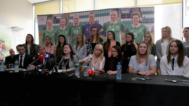 Republic of Ireland women team at Tuesday's press conference at Liberty Hall. Photograph: Donall Farmer/Inpho.