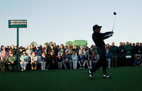 Gary Player tees off during the ceremonial start.  Photograph: Brian Snyder/Reuters