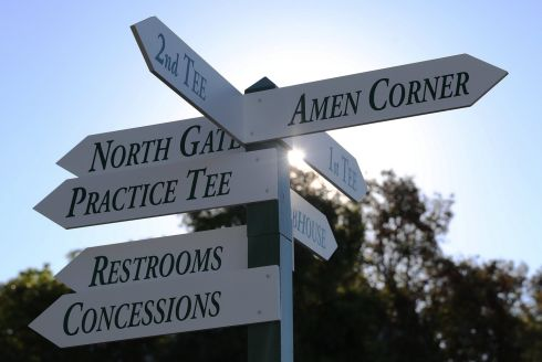 A signpoint points out directions to various locations on the course.  Photograph: EPA