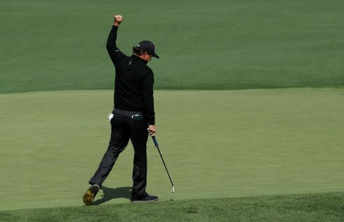 Phil Mickelson of the U.S. celebrates an eagle putt on the second hole in first round play during the 2017 Masters golf tournament at Augusta National Golf Club in Augusta, Georgia, U.S., April 6, 2017. REUTERS/Jonathan Ernst