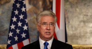 Britain's defence secretary Michael Fallon, pictured giving a news conference with his US counterpart James Mattis in London on March 31st, offered support for the US air strike on Syria. Photograph: Matt Dunham/Reuters