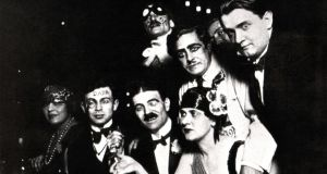 Dadaists Auric, Picabia, Ribemont, Dessaignes, G Everling, Casella and Tzara in France in  1920. Photograph: Photo12/UIG via Getty Images