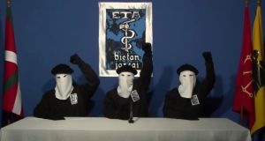 Masked members of the Basque separatist group Eta at a news conference in an unknown location in October 2011. Photograph: Gara via AP