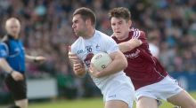 Kildare's Eddie Heavey and Barry McHugh of Galway in the sides' Allianz league game last Sunday. Photograph: Mike Shaughnessy/Inpho