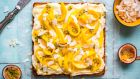 Coconut, mango and passion fruit slice cake