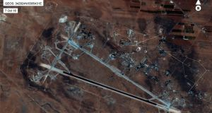 A handout photo from the US Department of Defense from April 7th, 2017 shows an aerial view of the al-Shayrat Airfield near Homs, Syria, which was attacked in a US missile strike on Friday morning.