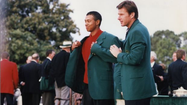 Tiger Woods was one of the many players to receive an oversized green jacket when he won in 1997. Photo: Augusta National