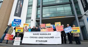 Picketers outside Dublin's Shelbourne Park dog track protesting at the  proposed closure of the Harold's Cross stadium. Photograph: Dave Meehan