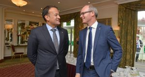 Fine Gael Ministers Leo Varadkar and Simon Coveney. Photograph: Barbara Lindberg