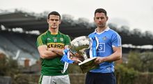 Kerry's Shane Enright and Dublin's Philly McMahon at the Allianz League Final media day.   Photograph:  Ramsey Cardy/Sportsfile