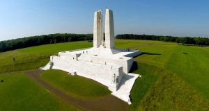 The Canadian National Vimy Memorial overlooking the Douai Plain in northwest France