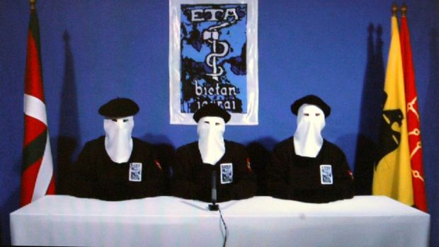 Basque Separatists ETA members announcing a 'permanent, verifiable ceasefire' in 2011. Photograph: Alfredo Aldai/EPA