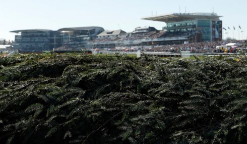 A view of a fence during on Grand National day at Aintree. Photograph: Andrew Boyers/Reuters