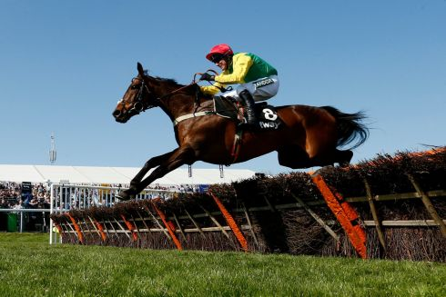 Robbie Power on Finian's Oscar wins the Betway Mersey Novices' Hurdle. Photograph: Andrew Boyers/Reuters
