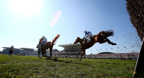 San Benedeto  ridden by jockey Nick Scholfield on the way to winning the Doom Bar Maghull Novices' Chase on Grand National Day. Photograph: Niall Carson/PA Wire