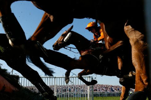 Leighton Aspell on Potters Legend in action during the Betway Handicap Chase. Photograph: Andrew Boyers/Reuters