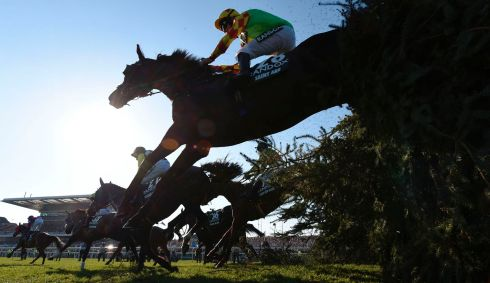 "Jockey Davy Russell riding Saint Are jumps ""The Chair"". Photograph: Getty Images"