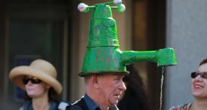 An anti-water charges protester in Dublin. Photograph Nick Bradshaw
