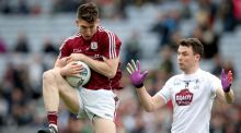 Kildare's Fionn Dowling challenges Galway's  Johnny Heaney during the Tribesmen's Division Two final win. Photograph: Ryan Byrne/Galway