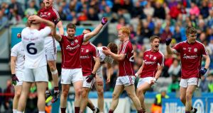 Galway celebrate their AFL Division Two victory over Kildare. Photograph: James Crombie/Inpho