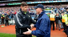 Jim Gavin congratulates Kerry manager Éamonn Fitzmaurice after the game in Croke Park. Photograph: James Crombie/Inpho