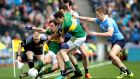Dublin's Michael Darragh McAuley and Paul Mannion battle Kerry's Ronan Shanahan and David Moran during Kerry's AFL final win. Ryan Byrne/Inpho