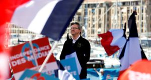 Organisers said 70,000 people gathered to hear Jean-Luc Melenchon of the Parti de Gauche at  a rally in Marseilles. Photograph: Jean-Paul Pelissier/Reuters