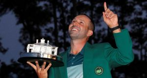 Sergio Garcia has hailed the influence of Seve Ballesteros and José María Olazábal after he broke his Major duck at Augusta. Photograph: Mike Segar/Reuters