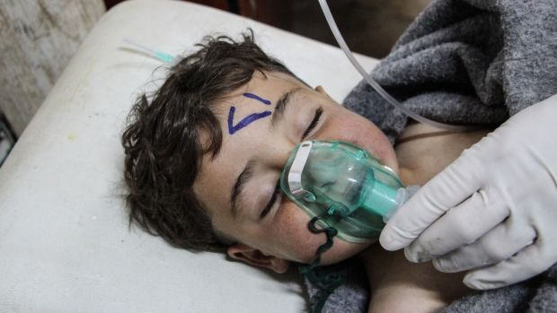 A Syrian child receiving treatment after last week's chemical attack in Idlib province, Syria. Photograph: EPA