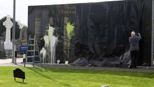 The 1916 Memorial Wall, in Glasnevin Cemetery after it was vandalised. Photograph: Conor Ó Mearáin