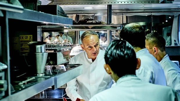 Christian Le Squer, head chef at Le Cinq, with his kitchen brigade. Photograph: Jean-Claude Amiel