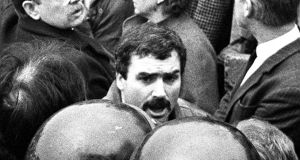 "Freddie ""Stakeknife"" Scappaticci at the 1987 funeral of IRA man Larry Marley.  Photograph: Pacemaker"