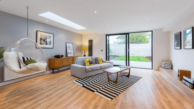 Open plan livingroom of 107 Church Road, East Wall, D3