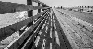 The wooden bridge to Bull Island at Clontarf, Dublin. The new wall was built as part of  a €5m  Clontarf cycle path which is due to be completed in April