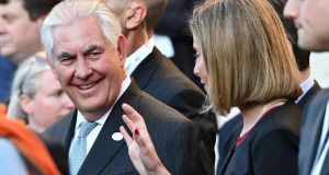 Rex Tillerson with EU foreign police chief Federica Mogherini during a meeting of foreign ministers from the G7 group,  in Lucca, Italy, on Monday. Photograph: Vincenzo Pinto/AFP/Getty Images