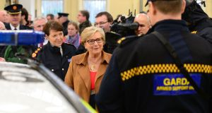 Minister for Justice Frances Fitzgerald, pictured here with Garda Commissioner Nóirín O'Sullivan, will on Tuesday bring to Cabinet proposed draft terms of reference for the examination of the force. Photograph: Dara Mac Dónaill