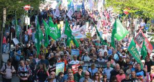 Image from a Right2Water marchin  Dublin. File photograph Nick Bradshaw