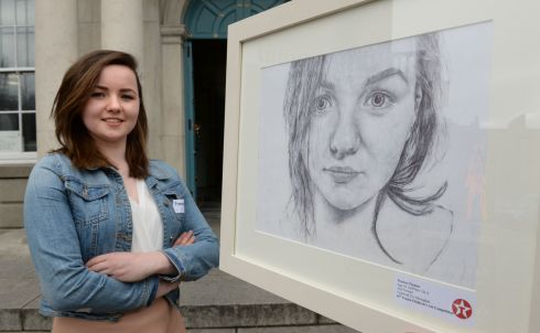 2015: Frances Treanor, Tydavnet, Co Monaghan,  with her self-portrait. Photograph: Dara Mac Donaill