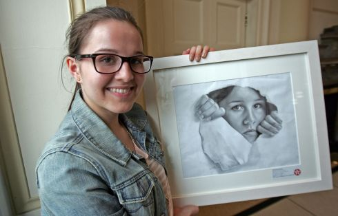 "2012:   Aleksandra Fudali, St Brogan's College, Brandon, Co Cork, won with her work ""My Future is yet to be Written"".  Photograph: Eric Luke"