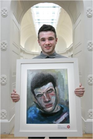 "2011: Keith Blake with ""A Warm Place"" (self-portrait). Blake attended Presentation Secondary School, Ballingarry, Thurles, Co Tipperary. Photographer: Dara Mac Donaill"