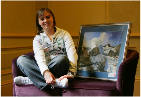 "2006:  Rose Toolan (18) from Coolarty, Co Longford,  with her painting ""Tempest"". Photograph: Bryan O'Brien"