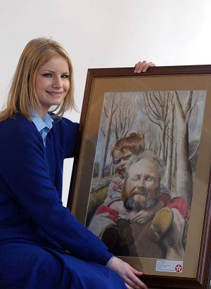 "2004: Niamh Fanning, Malahide Community School, Co Dublin,  with her portrait ""Down The Hill"". Photograph: Billy Higgins"