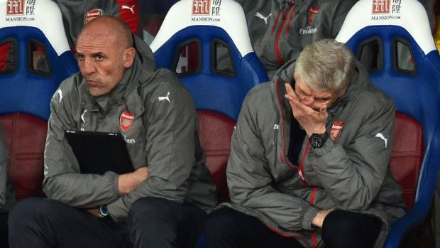 Wenger and assistant Steve Bould look on as Arsenal were beaten. Photo: Glyn Kirk/Getty Images