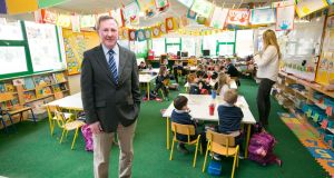 Joe Lyons, principal of Ballybrown St Joseph's National School in Limerick, says having to split or cram several classes into one room is a health and safety issue. Photograph: Brian Gavin/Press 22